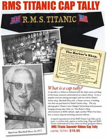 RMS Titanic Souvenir Ribbon / Cap Tally