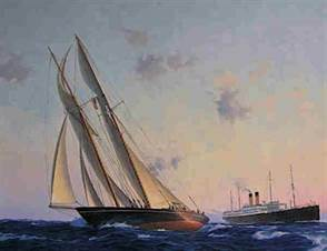 The Titanic Commutator Issue 225 - Gertrude Thebaud under full sail showing her stern to Adriatic (II)